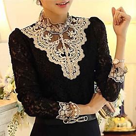 Women's Lace Crochet Black/Beige Blouse, Vintage Stand Collar Long Sleeve