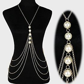 Women's Body Jewelry Belly Chain Body Chain Harness Necklace Pearl Imitation Pearl Fashion Statement Jewelry Bikini Tassels Sexy Crossover
