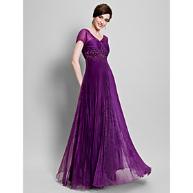 A-Line V-neck Floor Length Organza Mother of the Bride Dress with Beading Appliques Pleats Ruching by LAN TING BRIDE plus size,  plus size fashion plus size appare