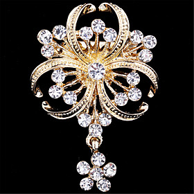 Women's Brooches - Imitation Diamond Flower Luxury, Fashion Brooch Golden For Wedding / Party / Special Occasion