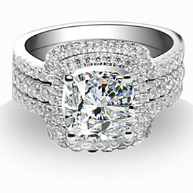 66mm Engagement Ring 1CT SONA Diamond Cushion Cut Perfect Wedding Bands Ster..