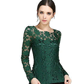 Women's Patchwork Lace Slim All Match Fashion Street chic Simple Plus Size T-shirt,Round Neck Long Sleeve