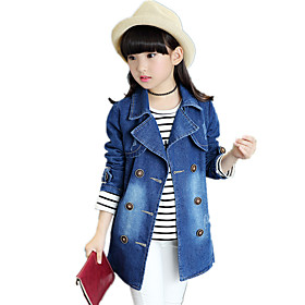 Image of Girl's Fashion Casual/Daily Solid Jeans / Trench Coat Cotton Denim Long Coat