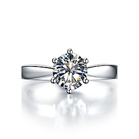Image of 0.6CT 6Prongs Setting Solitaire Engagement Ring for Women Sterling Silver Hearts and Arrows Diamond Ring Pt950 Engraved