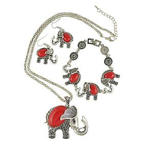 European Style Fashion Bohemian Ethnic Vintage Turquoise Elephant Necklace Bracelet Earrings Sets