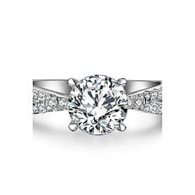 Image of 1.5CT SONA Diamond Ring for Women Engagement Jewelry Solid Silver 7.5mm Twist Across Setting Hearts and Arrows Ring