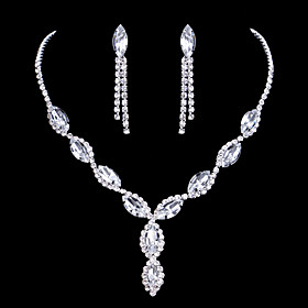 Women's Crystal Jewelry Set - Rhinestone Drop Fashion, Elegant, Bridal Include Drop Earrings Pendant Necklace Silver For Wedding Party Anniversary