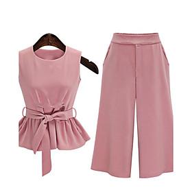 Women's Casual/Daily Plus Size / Street chic Summer Set,Solid Round Neck Sleeveless Pink / Black Cotton Medium