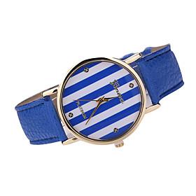 Damen Modeuhr Japanischer Quartz Armbanduhren fur den Alltag Leder Band Armbanduhr \/ Armband Schwarz \/ Wei \/ Braun \/ Mehrfarbig