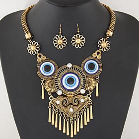 Women's European Style Fashion Simple Vintage Metal Tassel Exaggerated Eye Necklace Earrings Set