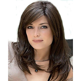 Capless Mix Color Long Length High Quality Natural  Straight Hair Synthetic Wig with  Side Bang 2559435