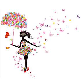 Faerie Umbrella Girl Romantic Backdrop Decorative Glass Decals