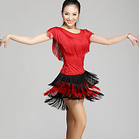 Latin Dance Outfits Women's Performance Chinlon Tassel(s) 2 Pieces  Latin Dance Short Sleeve Natural Top / Skirt