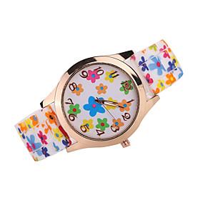 Damen Modeuhr Japanischer Quartz Armbanduhren fur den Alltag Silikon Band Armbanduhr \/ Armband Schwarz \/ Wei \/ Braun \/ Mehrfarbig