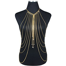Body Chain Necklace Fashion Gold Plated Tassels Party Jewelry