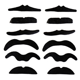 Hot Worldwide 12Pcs/Set Costume Party Halloween Fake Mustache Moustache Funny Fake Beard Whisker