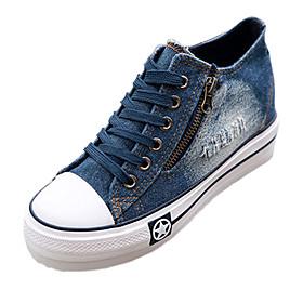 Women's Denim Spring / Summer / Fall Comfort Wedge Heel Zipper / Lace-up Dark Blue / Light Blue
