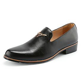 Men's Dress Loafers Leather Summer / Fall Comfort Loafers  Slip-Ons Walking Shoes Black / Yellow / Burgundy / Wedding / Party  Evening