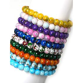 Beadia 1Pc 8mm Glass Bead Strand Bracelets(10 Colors)