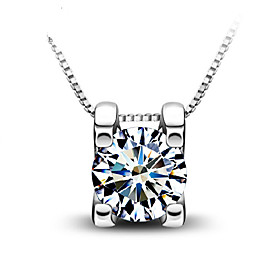 Pure Selling Crystal Square Transparent Zircon Necklaces Clavicle Chain