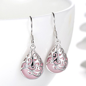 Women's Opal Synthetic Opal Drop Earrings - Sterling Silver Silver Drop Ladies Fashion Bridal Jewelry White / Pink For Wedding Party Daily Casual