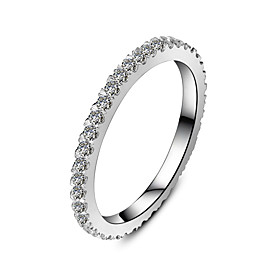 Image of Sterling Silver Infinity Wedding Band Ring Fully Embed 0.55CT 18K White Gold Plated Brand Band for Women SONA Diamond