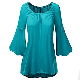 Women's Casual/Daily Street chic Loose Blouse ,Solid Round Neck Flare Long Sleeve