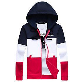 Men's Fashion Patchwork Hooded Slim Fit Sport Cardigan Sweatshirt; Casual/Plus Size/Sport 5071278