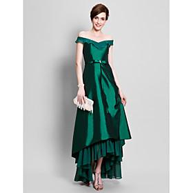 LAN TING BRIDE A-line Plus Size Petite Mother of the Bride Dress - Elegant Asymmetrical Short Sleeve Chiffon Taffeta withBeading Bow(s) plus size,  plus size fashion plus size appare