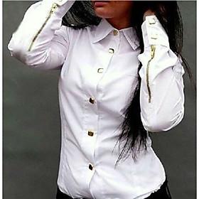 Women's Solid Pink / White / Green Blouse , Shirt Collar Long Sleeve