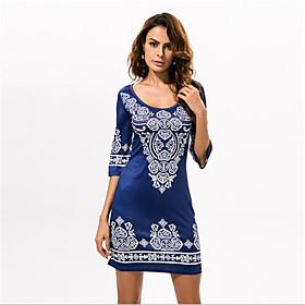 In Colour Women's Round Neck 1/2 Length Sleeve Knee-length Dress-533326684662