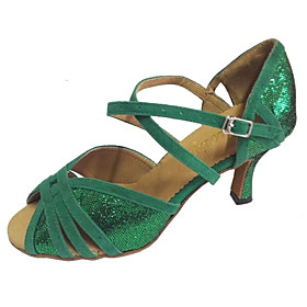 Women's Dance Shoes Sparkling Glitter / Suede Latin Shoes / Salsa Shoes Sandal Customized Heel Customizable Green / Indoor / Professional Category:Salsa Shoes,Latin Shoes; Upper Materials:Suede,Sparkling Glitter; Lining Material:Leather; Heel Type:Customized Heel; Actual Heel Height:Customized Heel; Style:Sandal; Outsole Materials:Suede; Occasion:Professional,Indoor; Closure Type:Buckle; Customized Shoes:Customizable; Listing Date:07/25/2016; Foot Length:; SizeChart1_ID:2:468; Popular Country:United Kingdom,Australia,United States