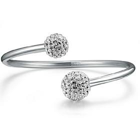 Women's Crystal Bracelet Bangles Cuff Bracelet - Sterling Silver Ball Basic, Fashion Bracelet Silver For Party Anniversary Birthday