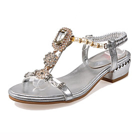 Women's Shoes Heel Peep Toe Sandals Outdoor / Party  Evening / Dress Silver / Gold