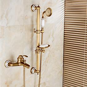 Shower Faucet Bathtub Faucet - Art Deco / Retro Antique Bronze Centerset Ceramic Valve