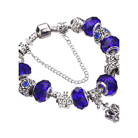 Women's Crystal Beaded Beads Charm Bracelet Bracelet Bangles Strand Bracelet - Rhinestone, Silver Plated European, Fashion Bracelet Blue / Pink / Light Green F