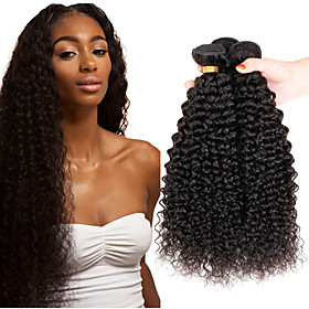 3 Bundles Indian Hair Afro / Kinky Curly Virgin Human Hair Natural Color Hair Weaves / Hair Bulk 8-26 inch Human Hair Weaves Shedding Free / Tangle Free / Thic 5083398