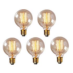 Hry 5pcs 40w E26 / E27 G95 Warm White 2300k Retro Dimmable Decorative Incandescent Vintage Edison Light Bulb 220 240v