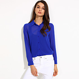 Women's Solid Shirt, Shirt Collar Long Sleeve