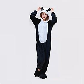 Kigurumi Pajamas Panda Onesie Pajamas Costume Polyester Black/White Cosplay For Adults' Animal Sleepwear Cartoon Halloween Festival / 5128334