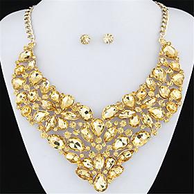 European Style Fashion Luxury Metal Shiny Bright Gemstone Flower Necklace Ea..