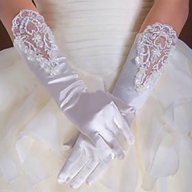Elbow Length Half Finger / Fingertips Glove Elastic Satin Bridal Gloves / Party/ Evening Gloves Spring / Summer /