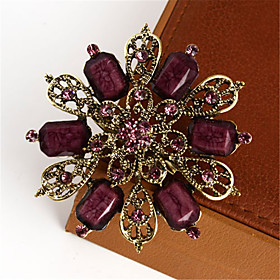 Retro Fashion Gold Alloy And Colorful Resin Flower Shape Brooch for Women