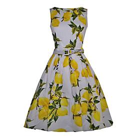 Women's Party Vintage Swing Dress,Print Round Neck Midi Sleeveless White / Black Cotton / Rayon All Seasons
