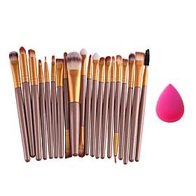 20pcs/set Makeup Brushes Powder Foundation Eyeshadow Eyeliner Lip Brush SetSmall Foundation Puff