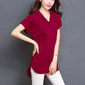 Women's Solid Red / Black / Green Long section T-shirt,Plus Size /Casual Loose Thin V Neck Asymmetrical Cotton/Spandex