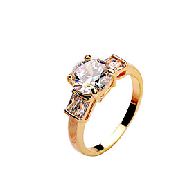 Image of Fashion Korean Ladies ring made of copper inlaid CZ Ring White Gold Rose Gold gold gold color