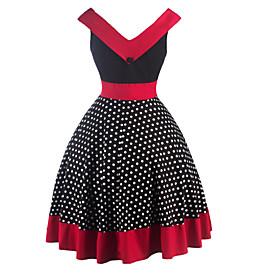 Womens Fashion Elegant Polka Dot Vintage Style Swing Rockabilly Party Dress