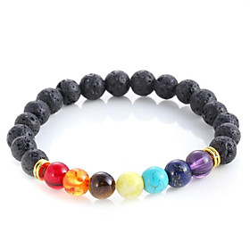 Muti-color Design Mens Bracelets Black Lava 7 Chakra Healing Balance Beads B..