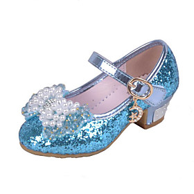 ADOR Girls' Shoes Glitter Spring  Summer Comfort Heels Crystal / Bowknot / Sequin for Pink / Blue / Wedding